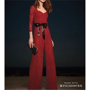 🔥NWT ADRIANNA PAPELL Red Lace Wide Leg Jumpsuit
